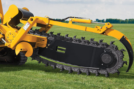 Sliding offset trencher with quads